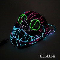 Free Shipping Flashing   Party     Mask   LED   Mask   Sound Activated 10 Color optional el wire   mask   For Halloween Decor by 2-AA Driver