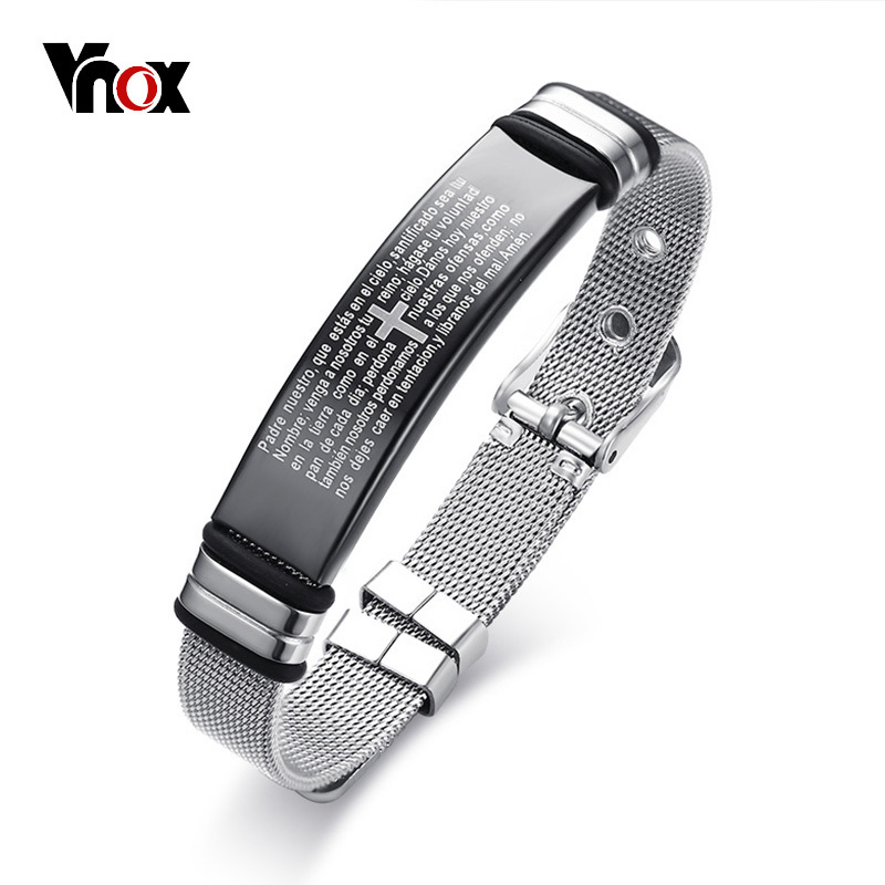 все цены на Vnox 12mm Engraved Bible Cross Bracelet for Women Men Bangle Stainless Steel Adjustable Chain Prayer Jewelry