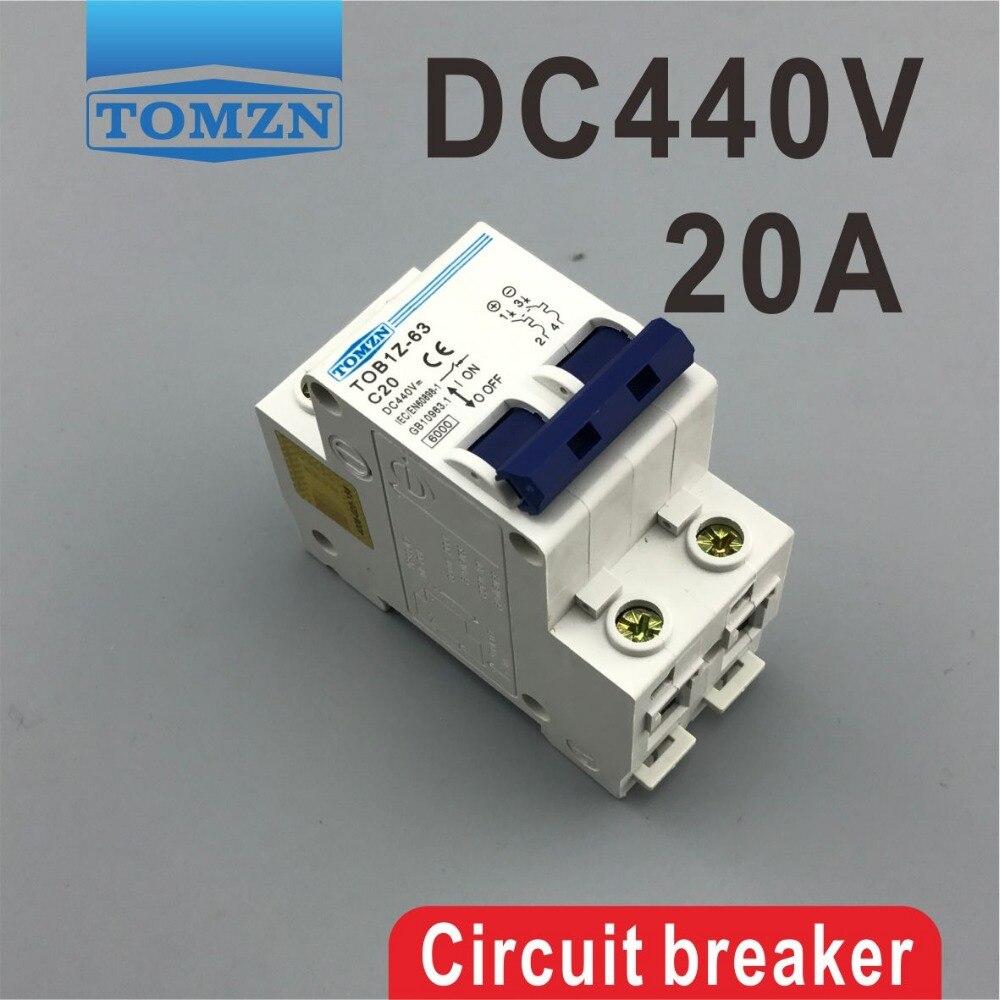 2P 20A DC 440V Direct Current Circuit breaker MCB 2p 10a dc 440v circuit breaker mcb