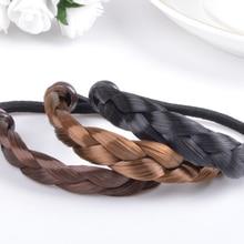 1PC Hot Sale 4 Colors Wig Hemp Flowers Women Popular Promotional Scrunchy Rubber Rope Elastic Hair Bands