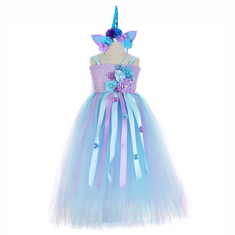 Elegant Purple Top Blue Mesh Tulle Tutu Dress Princess Kids Unicorn Lol Dress for Girl Ankle Length Flower Girls Dresses Age 13 (1)