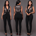 2017New Style Fashion Full Length Elegant Jumpsuit Women Summer Sleeveless Lace Rompers Velvet Overall Sexy Jumpsuits Onsie