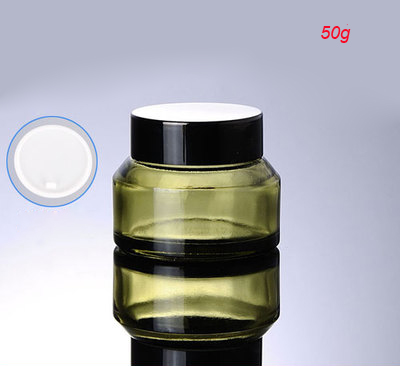 50g green glass cream jar with black lid empty glass 50g cream jar cosmetic jar 50 g cosmetic packaging glass jars wholesale - Wholesale Glass Jars