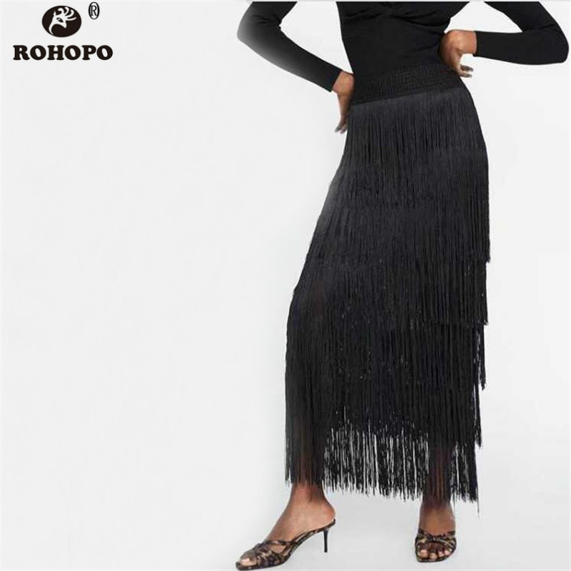 ROHOPO Tassel Cake Women Midi Skirt Autumn Black High Waist Flare Multiways Vogue Skirts #BM1928