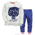 2 T ~ 7 T, novo 2017 Qualidade Algodão Marca Meninas Roupas 2 pcs Crianças Se Adapte Às Crianças Roupas Homewear Conjuntos Pijamas Pjs Sleepwear Noite