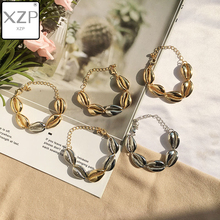 XZP Bohemia Jewelry Summer Beach Mermaid Gold Silver Shell Conch Bracelets BOHO Style Charm Bangle Adjustable Wristband