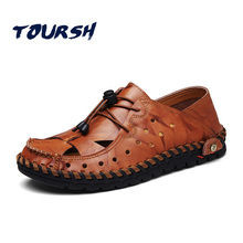 TOURSH Soft Leather Men Sandals Gladiator Sandals For Men Summer Shoes Beach Sewing Design Men Light Soft Loafers Lace-Up Rubber