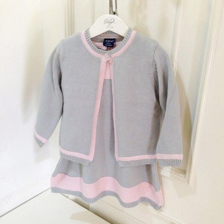 new 2015 autumn winter customization knitted sweater dress+cardigan 2pcs children's dress set menina suit2~7age baby girls sets 2015 new jacadi baby sweater dress yf01