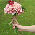2017 New Design Wedding Bouquet Pink Artificial wedding Bouquets Handmade bouquet de mariage Free Shipping In Stock