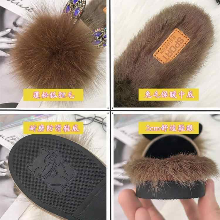 Luxury Brown Black White Rabbits Fur Slippers Women Round Toe Slip On Long Plush Lining Slides Outdoor Rhinestone Ear Shoes