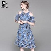 Frühling sommer runway designer frau kleid blau orange jahrgang blumenmuster halter kragen schulterfrei knielangen kleid