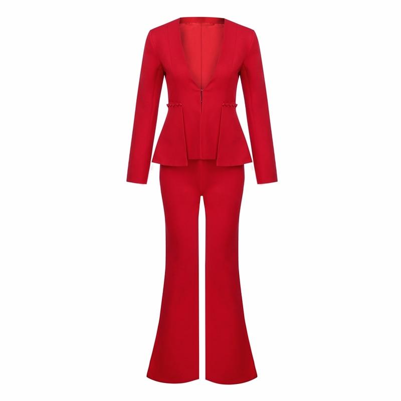 2018 V Blazer Picec Formelle À Pantalons 2 Ensembles Longues Manches Costumes Lady Flare Ol cou Beateen Large Rouge Jambe Pantalon pdRwqp5