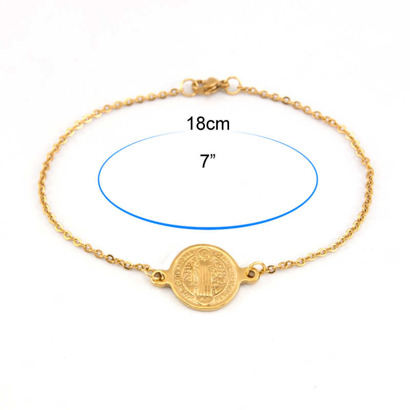 Risul San Benito złoty Medal świętego benedykta charm bransoletka damska biżuteria na prezent łańcuch Rolo proste ze stali nierdzewnej niech cię bóg błogosławi