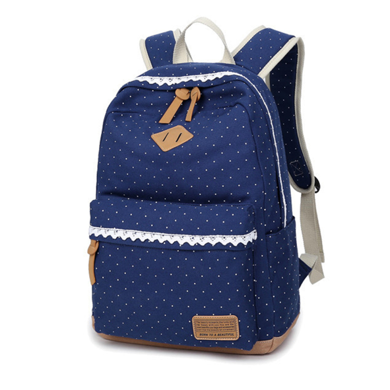 Girl Folk Dots Pattern Print Style Canvas School Bag Soft Handle Zipper Leisure Backpack Women Shoulder