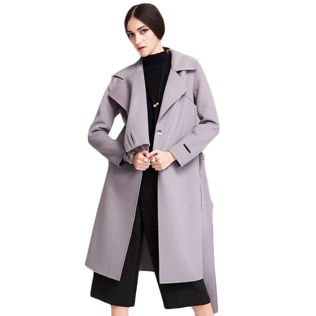 Women's Winter Wool Coat 2017 New Arrival Women Spring Dust Coat  Female Cashmere Coats Solid Ladies Jacket Long Parka F1890