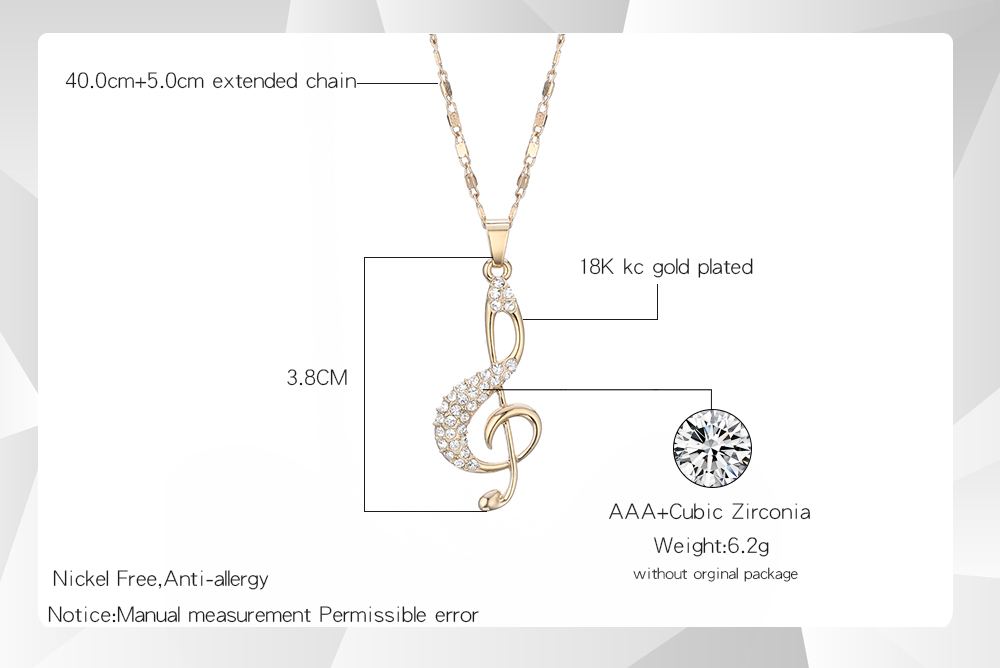 Crystal Music Jewelry Set Pendant Necklace Music and Earrings