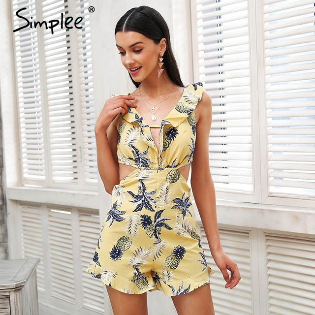 Simplee Hollow out women jumpsuit summer Backless lace up sexy romper Ruffle v neck beach playsuit female short overalls 2018 3