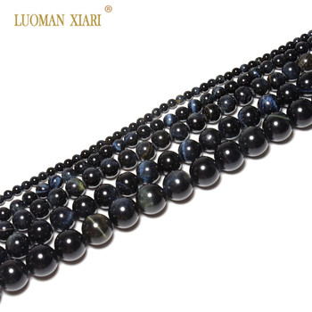 82b90bb999d1 Ronda AAA + azul Ojo de Tigre cuentas de piedra Natural para la fabricación  de la joyería DIY pulsera collar Material 4 6  8 10 12mm 15