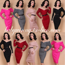 FREE SHIPPING 2015 New Autumn Winter Five Colors Elasticity Knitted V Neck Long Sleeve Strapless Dress Fashion Vestidos Women