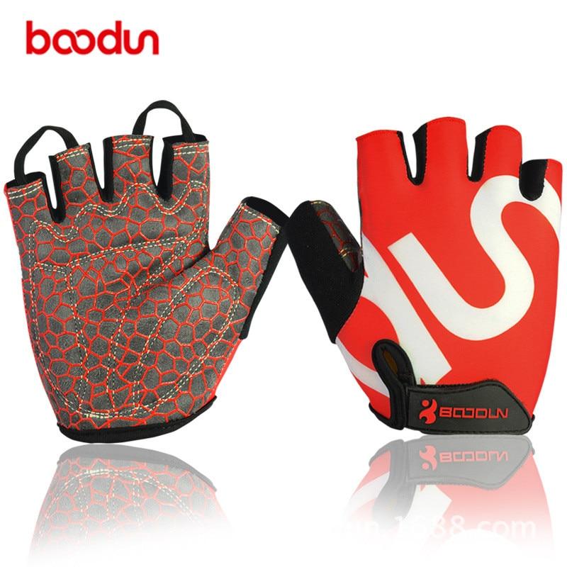 Boodun Men' Lycra Cycling Gloves Women Half-Finger Anti-skid Bike Gloves Mountain Sports Glove Eldiven Mittens M L XL