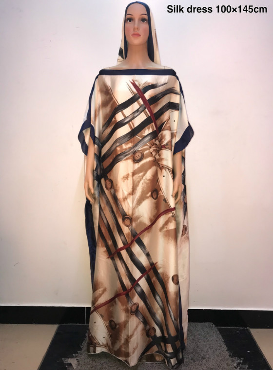 Length :145 Cm ,width 100 Cm Amazing Printed Silk Summer Women Dresses 2019 Popular Turkey Style Women Silk Long Dress