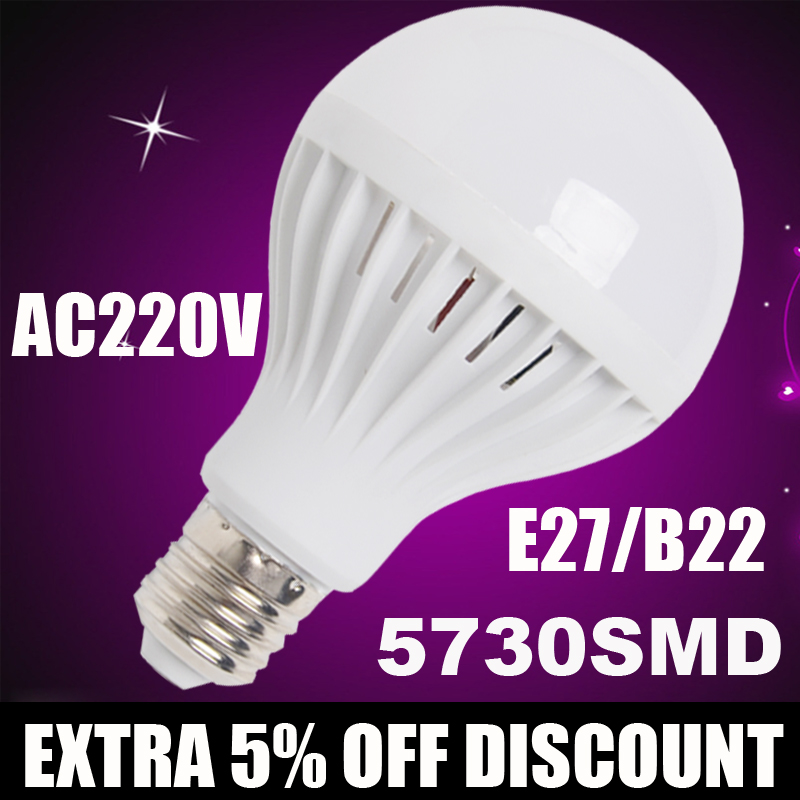 Wholesal B22 E27 LED Lamp 220V 5730SMD 3w5w 7w 9w 12w LED Bulb led Light bulb leve bulbo Bombillas luz Lampada Led Bombillas