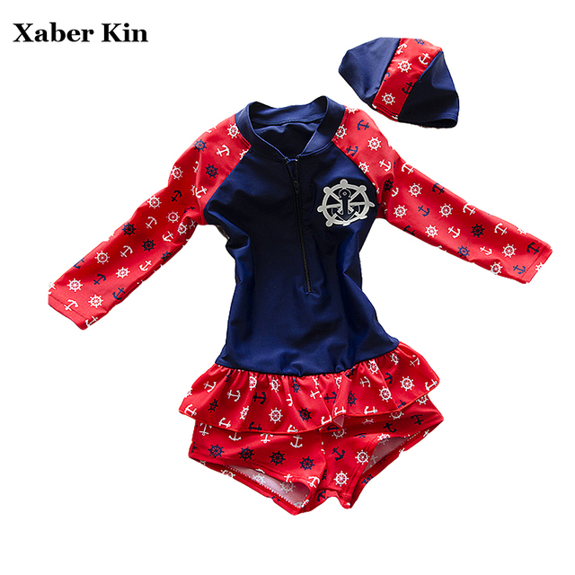 New 2016 Girls Swimsuit Long Sleeve Bathing Suits+Hats Children Girls Swimwear Kids Girls Beachwear Sports Swimsuits K53-CGR1
