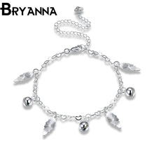 Bryanna Fashion Cute Foot anklet jewelry Silver plated Leaf anklets nice gift for women girl ankle bracelet for legs LKNSPCA071