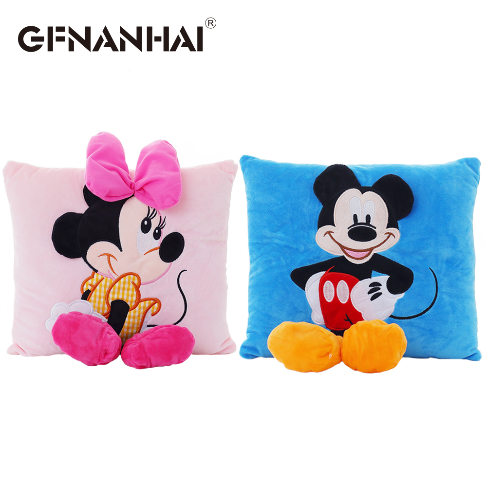 1pc 30*33cm Mickey mouse and Minnie plush toy stuffed soft animal plush pillow cartoon sofa car cushion for kids birthday gift northern europe style double 3d printing ins doll plush sofa stuffed animal child toys birthday xams gift dash pillow cushion