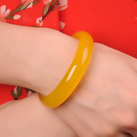 TOP Quality Natural Jades Yellow Chalcedony Bracelet Round Attractive Bracelet Bangle Women's Stone Jewelry