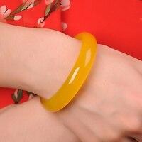 TOP Quality Natural Jades Yellow Chalcedony Bracelet Round Attractive Bracelet Bangle Women's Stone Jewelry