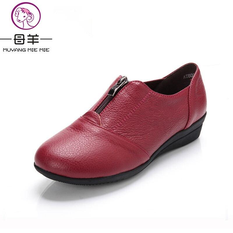 MUYANG Chinese Brand Plus Size(34-42) Women Genuine Leather Flat Shoes Woman Zipper Casual Single Shoes Women Flats