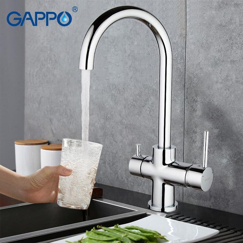 Gappo zimne gorące wody kuchnia filtr do kranu wody mosiądz deck mounted torneira cozinha obrotowy wylewka kran do zlewu baterie kuchenne