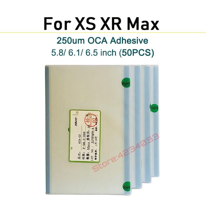 50PCS Original 250um OCA film for iPhone X XR XS Max OCA Optical adhesive for Mitsubishi oca Adhesive repair in Phone Screen Protectors from Cellphones Telecommunications