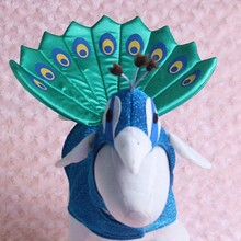 Halloween Luxury Blue Peacock cat pet costumes Cosplay cat dress clothes with funny cap hat for small cats and dogs