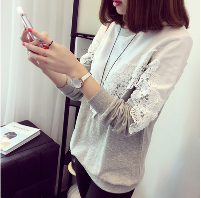 lace woman t-shirt plus size Korean style lace patchwork o-neck long sleeve causal slim bottoming female t-shirt Tees 2