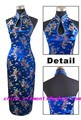 Navy Blue Chinese Lady Satin Cheongsam Sexy Dripping Backless Qipao Vintage Evening Dress Sexy  Size S M L XL XXL XXXL WC069
