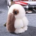 trinket naturl fox fur pompom keychain bunny keychains on bag rabbit fur Keychain fur pom pom charms  for bags  anime