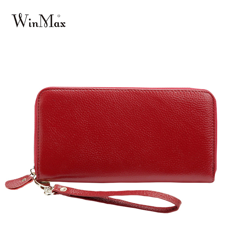 Winmax High quality Fashion Women Wallets Long Dull Polish genuine Leather Wallet Clutch real leather Coin Lady Purse with belt nawo real genuine leather women wallets brand designer high quality 2017 coin card holder zipper long lady wallet purse clutch