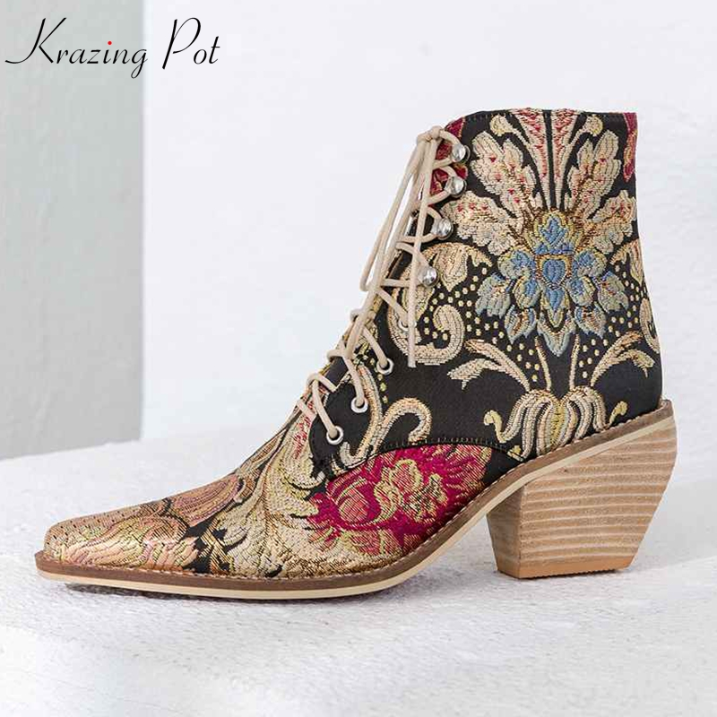 Krazing Pot 2018 Winter luxury silk embroidery square high heels square toe streetwear plus size oriental women ankle boots L01 krazing pot cow suede fashion winter big size round toe art square high heels embroidery women flowers ankle chelsea boots l15