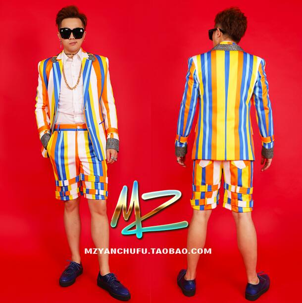 Summer New male singer DJ host performance costume nightclub guest stage equipment bar Fashion Blazers Men suit A354