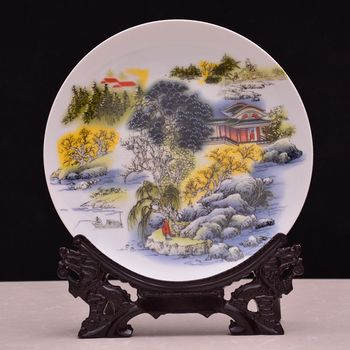 Jingdezhen ceramics hanging plate peony flowers rich decorative landscape painting creative Home Furnishing hunker disc handicra image