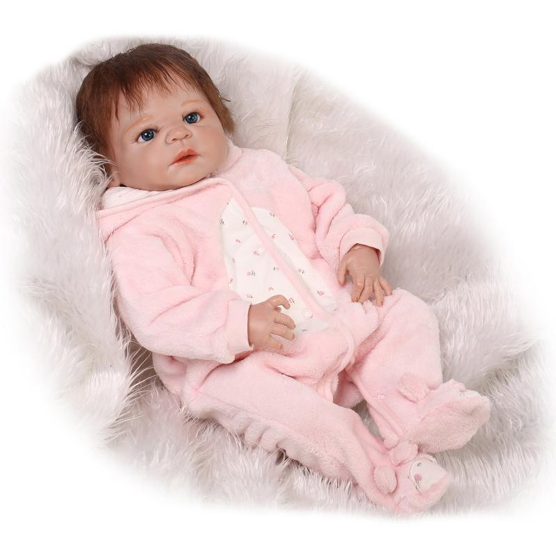 55cm whole Silicone Reborn Babies Dolls Toy With Pink pacifier Newborn Princess Girl Baby Doll For Kids Girls Brinquedos gift
