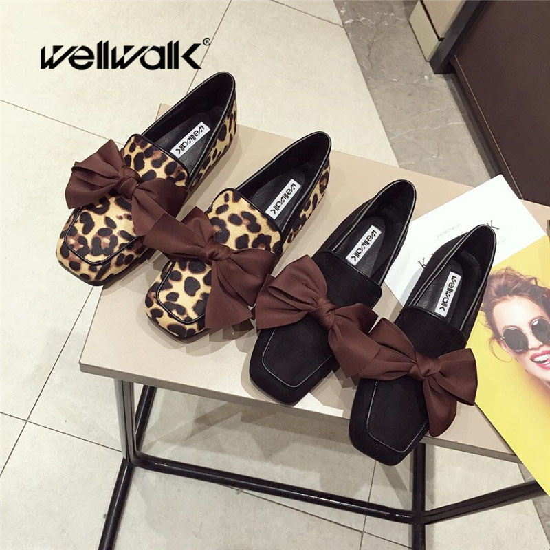 Wellwalk Ballet Flats Woman Shoes Leopard Loafers Women Ballerina Flats Shoes Ladies Black Flats Female Moccasins Shoes Spring 1