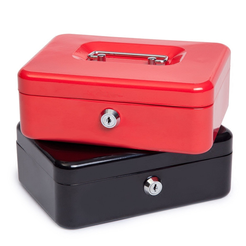 Home Organizador Mini Portable Steel Petty Lock Cash Safe Box For School Office Market With 2 Keys Lockable Coin Security Box L portable steel safe box cash jewelry storage collection box for home school office with compartment tray lockable security box l