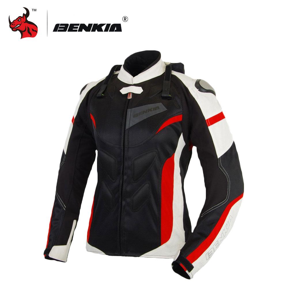BENKIA Moto Giacca Moto Traspirante Da Corsa Giubbotti Donne di Motocross di Protezione Jersey Moto Giacca Moto Femme