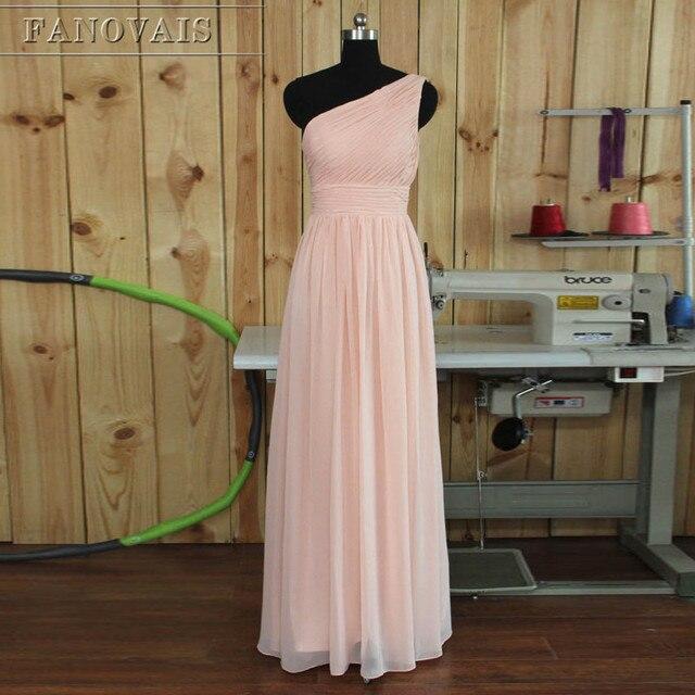 Rosa elegante Longo Da Dama de honra Vestidos Simples de Um Ombro Plissados  Chiffon Rosa Mulheres 9deebc4f1703