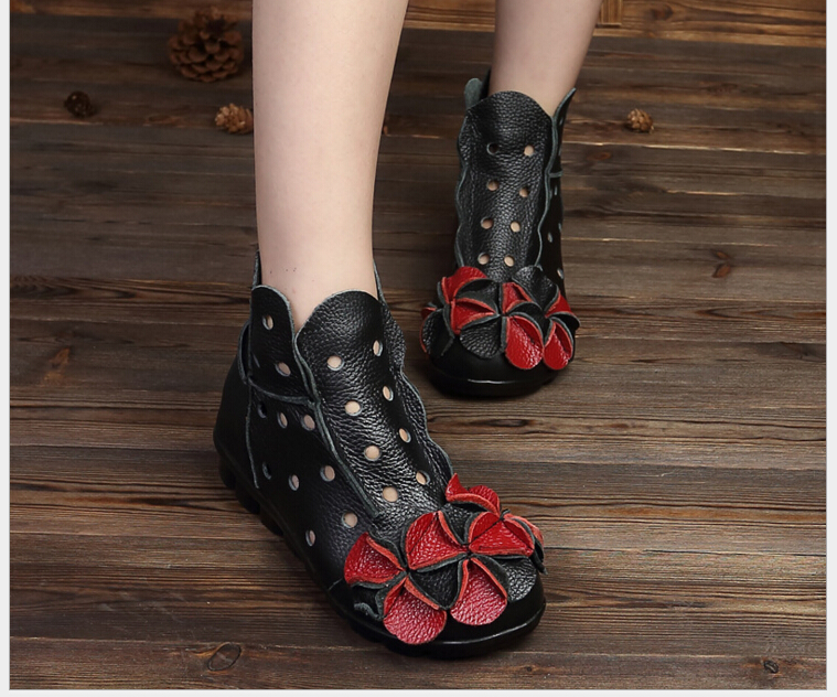 ФОТО New Arrival 2016 Fashion Women Summer And Autumn Winter Genuine Leather Boots Handmade Vintage Flower Ankle Botines Shoes Woman