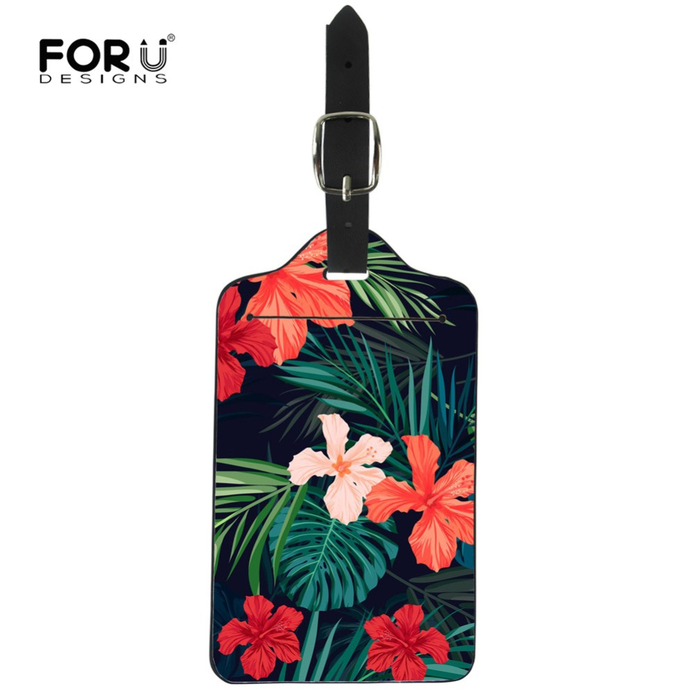 FORUDESIGNS Travel Accessoires Tropical Palm Tree Suitcases Luggage Tag ID Address Holder Portable Label Identificador Maleta