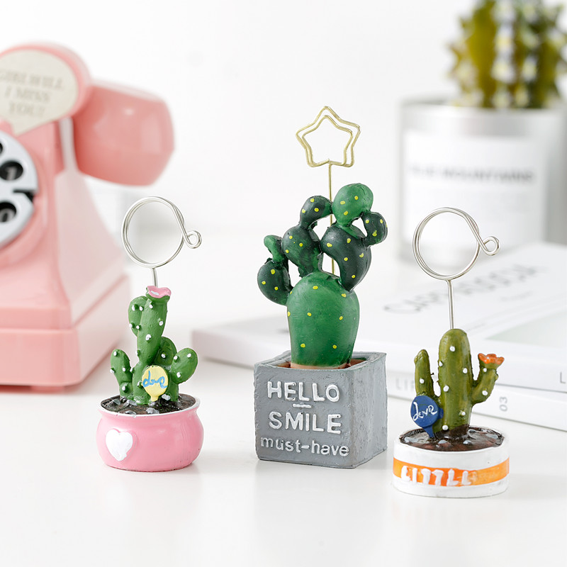 TUTU 4pcs/lot Cute Card Holder Cactus Resin Plant Decoration Stationery Photo Holder Paper Clip Office School Supplies H0256